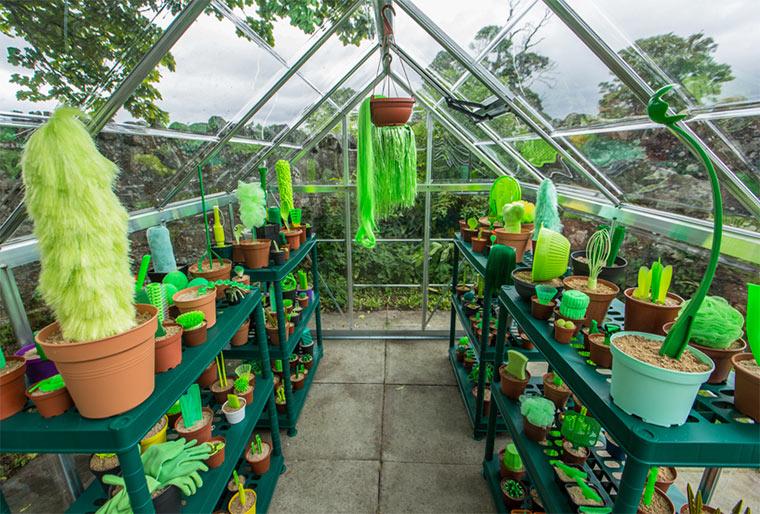 Gewächshaus grüner Gegenstände