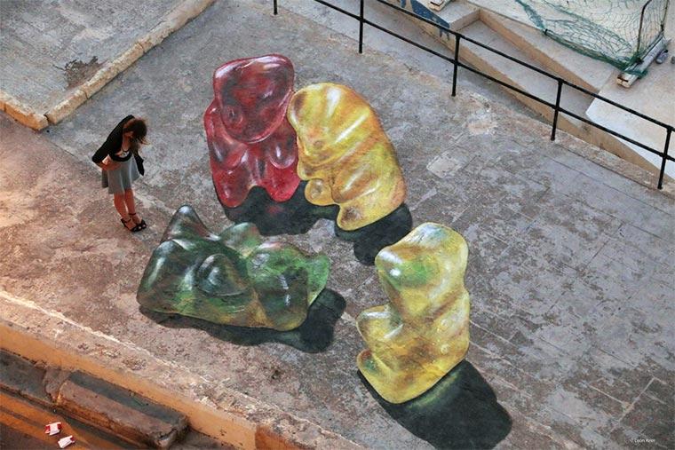 Gummibären-Bodenmalerei Gummybears_Street-Art_01