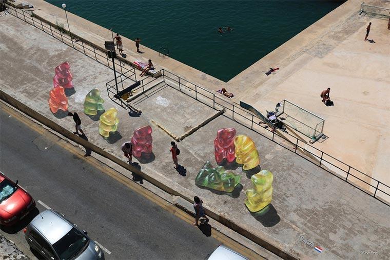Gummibären-Bodenmalerei Gummybears_Street-Art_02