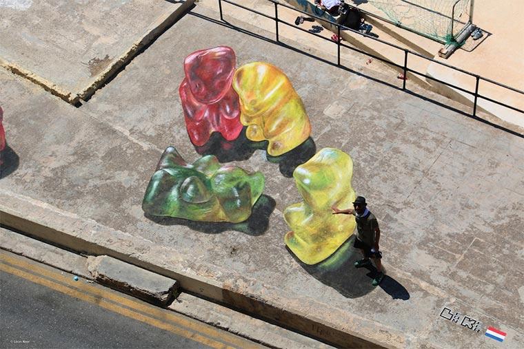 Gummibären-Bodenmalerei Gummybears_Street-Art_06