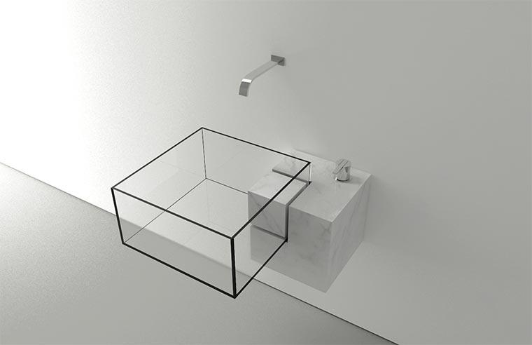 Durchsichtiges Waschbecken KUB_01