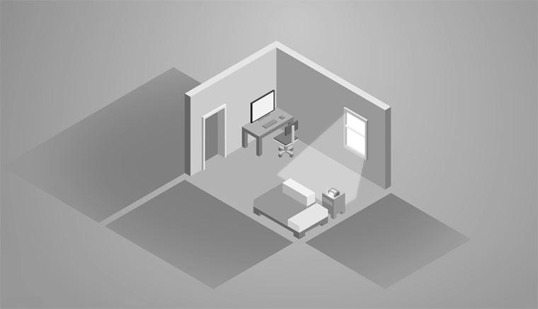 Minimalistisch animierter Alltag eines Quaders