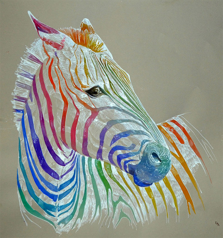 Knallbunte Wasserfarbpunkt-Tiere Ana-Enshina_04
