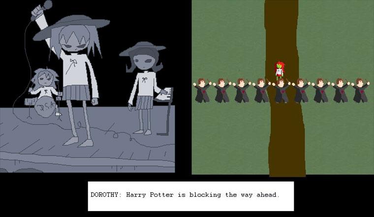 Girlband gegen eine Mauer aus Harry Pottern DSA-Game_01