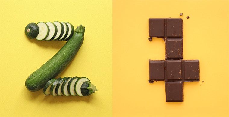 Illustriertes Snack-Alphabet