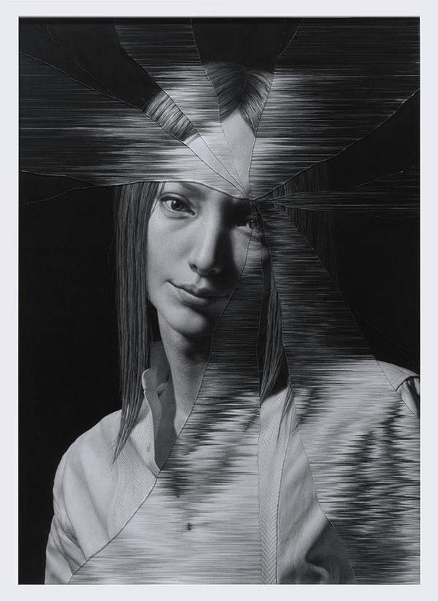 Gezeichnete Portraits gesprungenen Glases Taisuke-Mohri_02