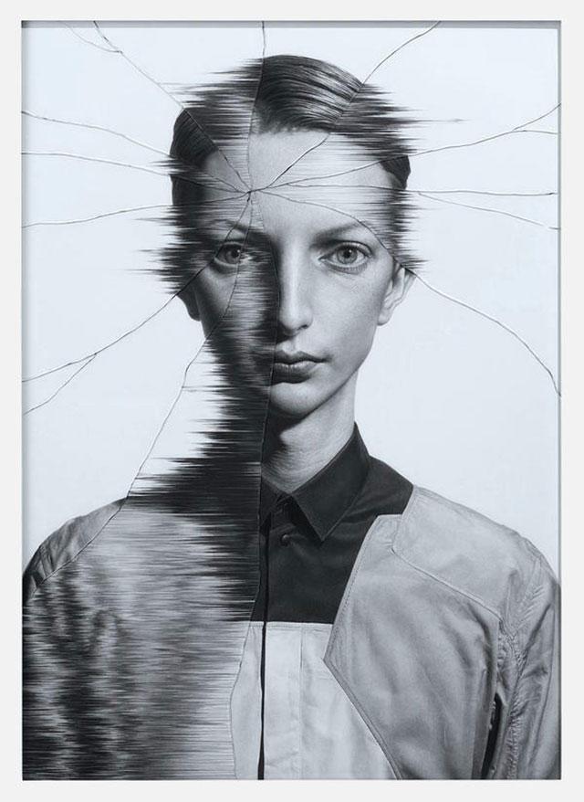 Gezeichnete Portraits gesprungenen Glases Taisuke-Mohri_03