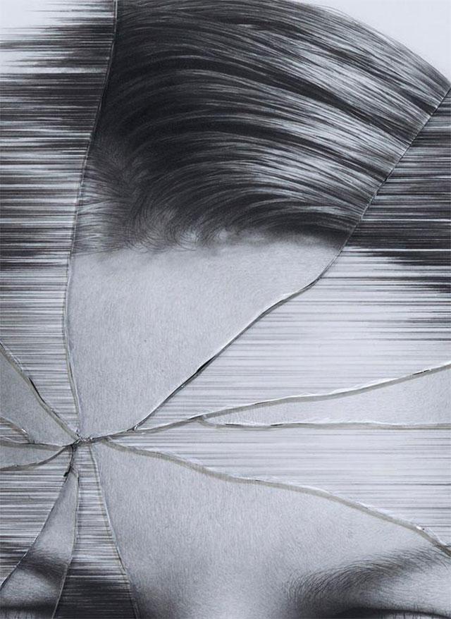 Gezeichnete Portraits gesprungenen Glases Taisuke-Mohri_05