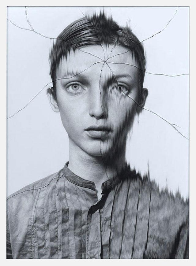 Gezeichnete Portraits gesprungenen Glases Taisuke-Mohri_06