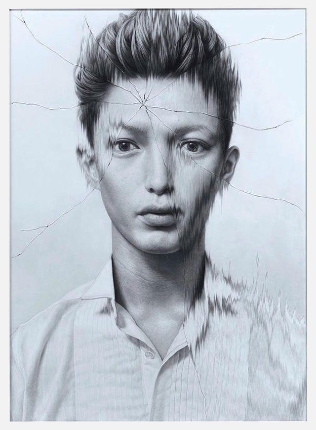 Gezeichnete Portraits gesprungenen Glases Taisuke-Mohri_08