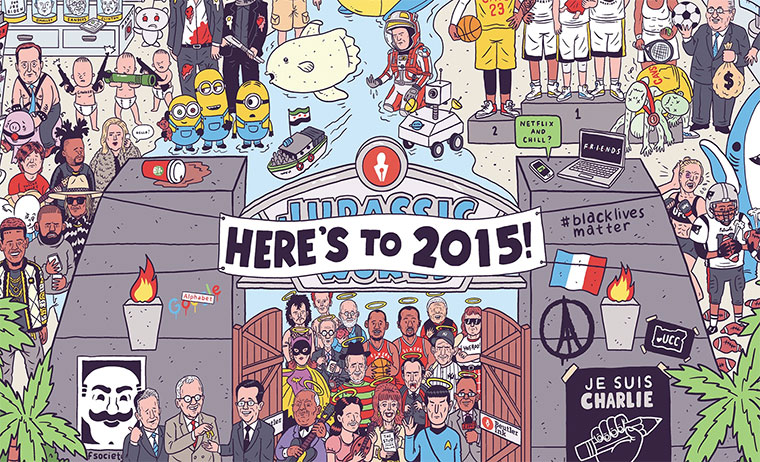 Das Jahr 2015 in einer Illustration Heres-to-2015