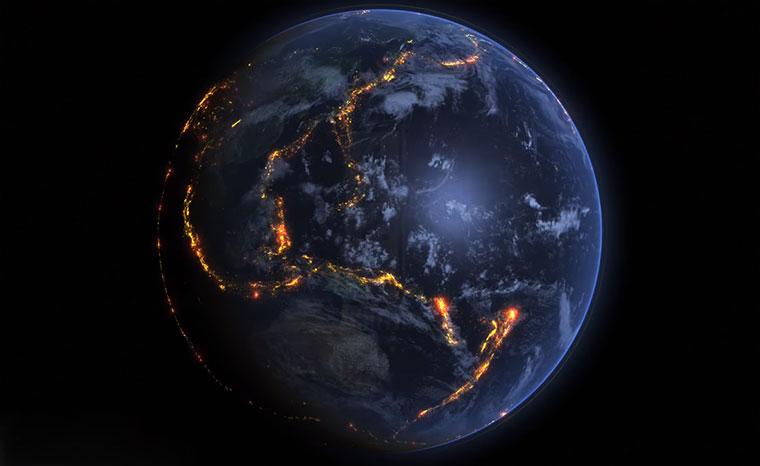 Visualisierung von Erdbeben 2000-2015 Erdbeben-Visualisierung