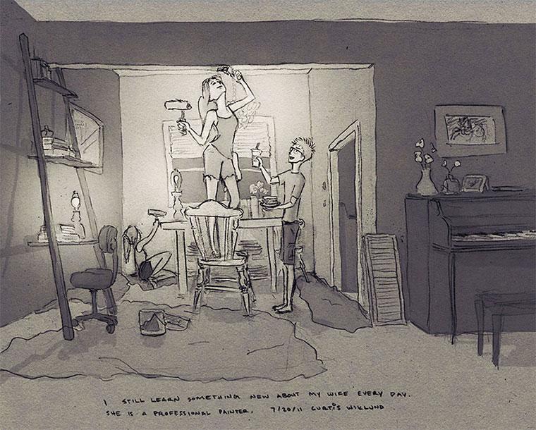Mann zeichnet 1 Jahr jeden Tag seine Frau 365-drawings-of-love_06