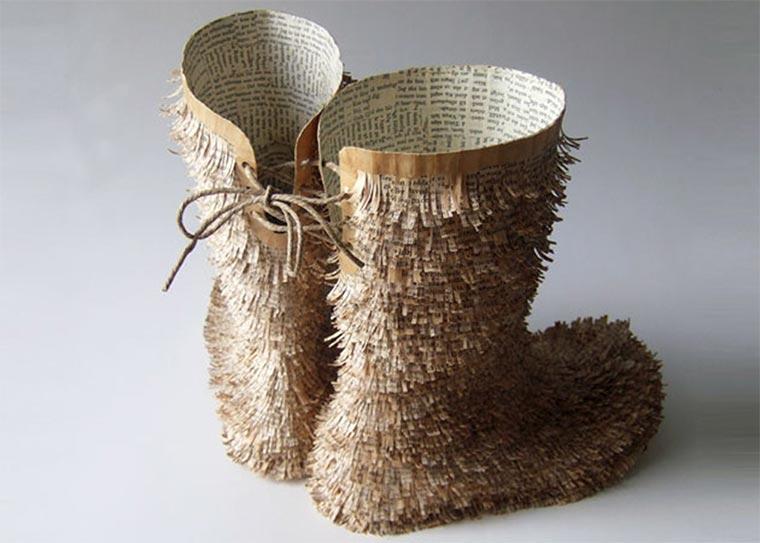Schuhe, Tassen und mehr aus alten Buchseiten Cecilia-Levy-paper-art_05