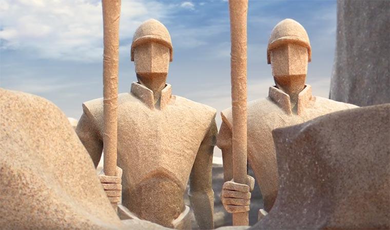 Genial animierter Ansturm auf eine Sandburg Chateau-de-Sable