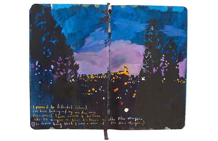 Missy H. Dunaway malt ihr Tagebuch