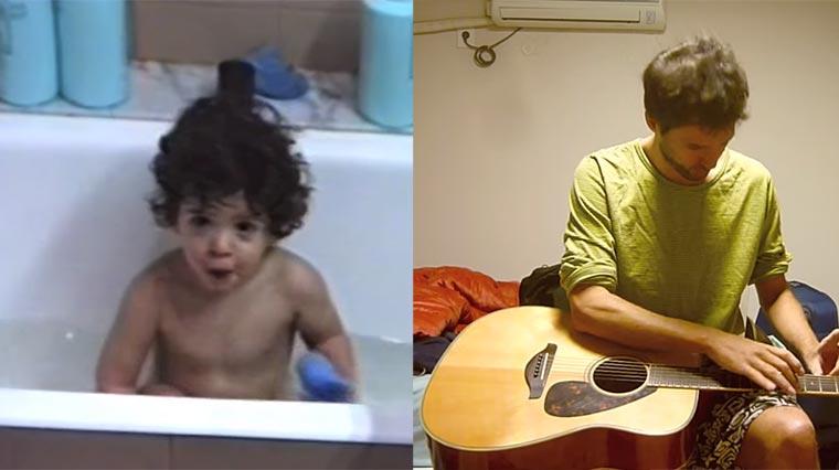Musiker spielt Melodie aus Badewannen-Geträller seines 1-jährigen Ichs Myself-Harmonizator