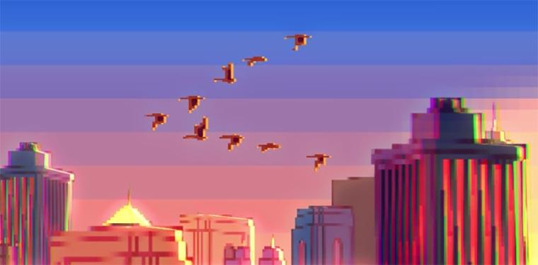 Musikvideo im Videospiel-Pixel-Look