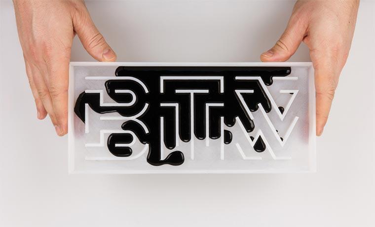 3D Font aus physischen Prozessen Typografie-und-Materialitaet