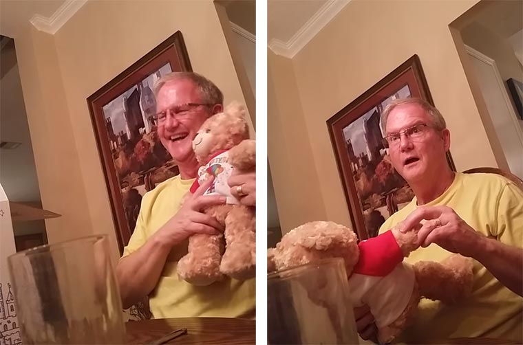 Werdender Opa erfährt die Neuigkeit von einem sprechenden Plüschbären