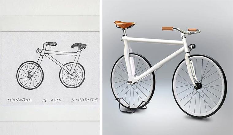 Designer setzt gezeichnete Fahrräder um