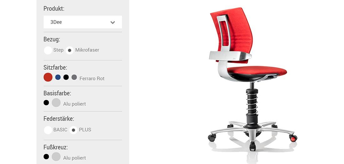 Mein Rücken macht jetzt Sport beim Sitzen aeris-3Dee-Konfigurator