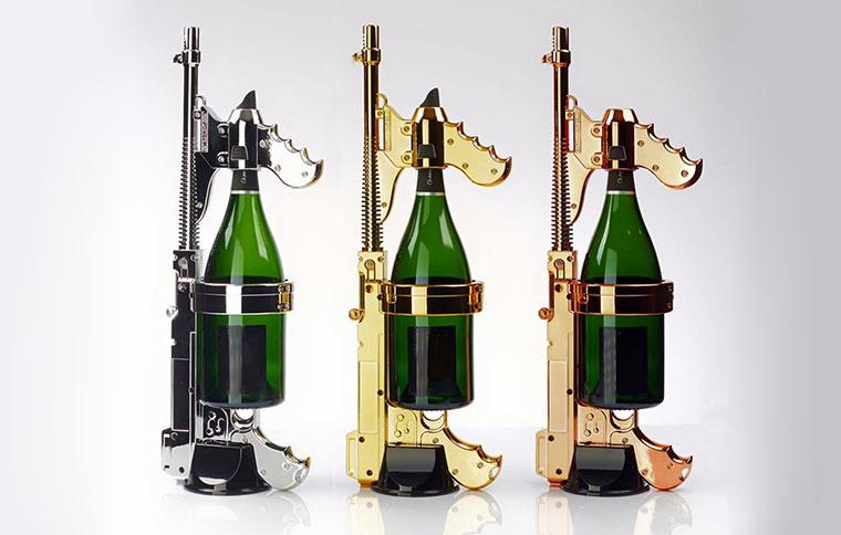 Vergoldete Champagner-Pistole