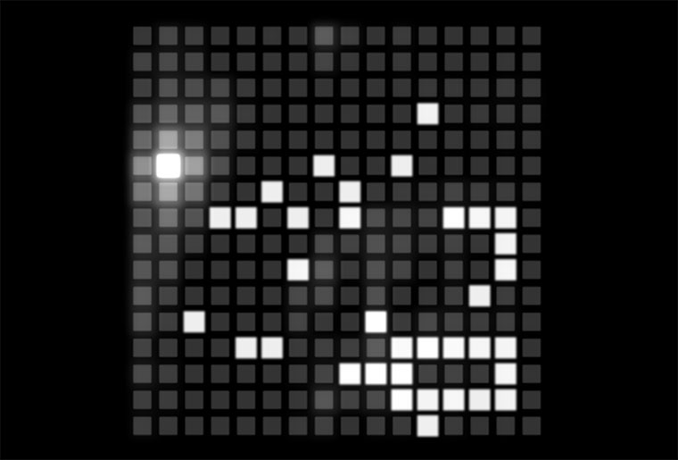 Bau Melodien auf einem 16×16 Beatpixel-Feld