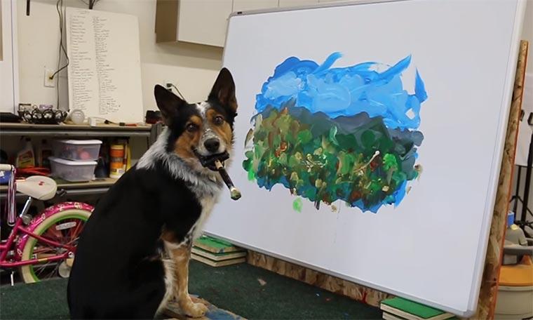 Jumpy der Hund malt gerne impressionistisch painting-dog