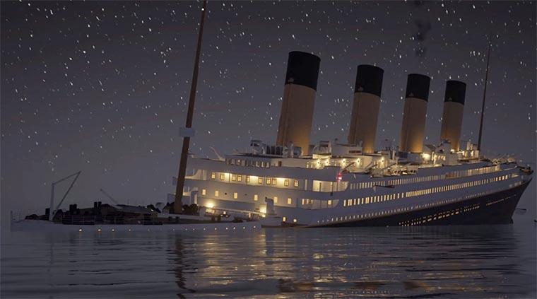 Das Titanic-Sinken in Echtzeit
