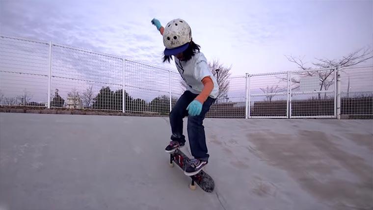 Neue Skateboard-Tricks des 12-jährigen Yamamoto Isamu-Yamamoto