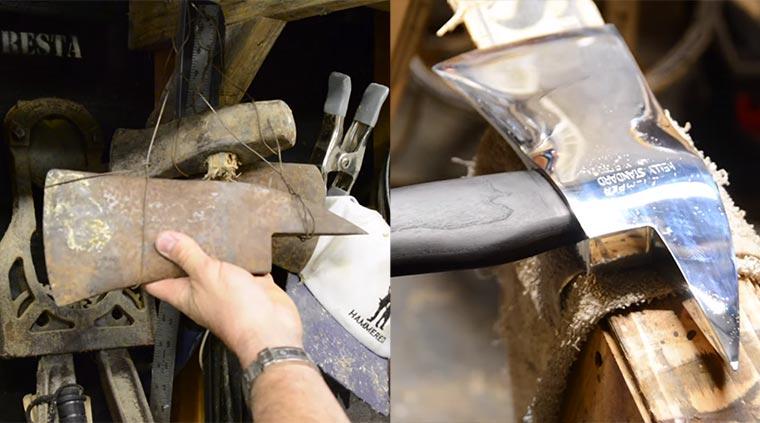 Aus einer rostigen Axt wird ein Schmuckstück axt-aufpolieren
