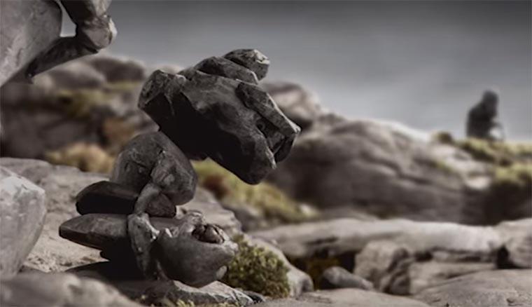Zivilisations-beobachtende Felsen das-rad