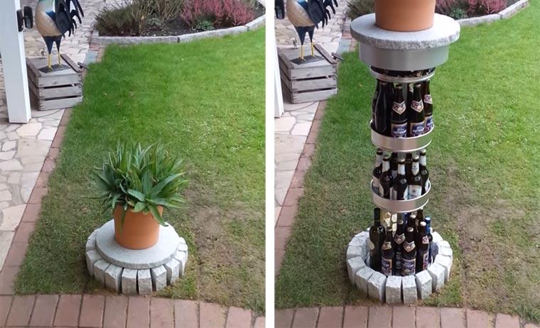 Bierversteck im Garten