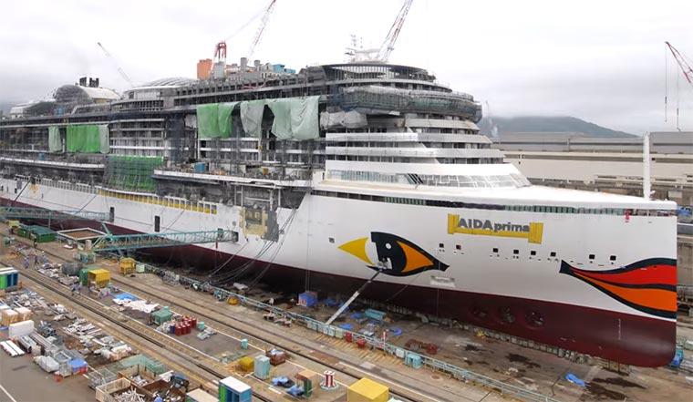 Kreuzfahrtschiff-Bau im Zeitraffer AIDAprima-Timelapse