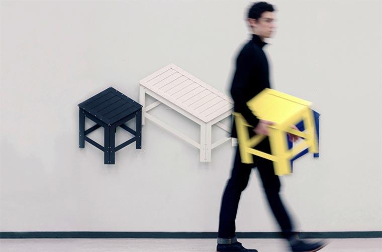 An die Wand gefaltete Möbel de-dimension