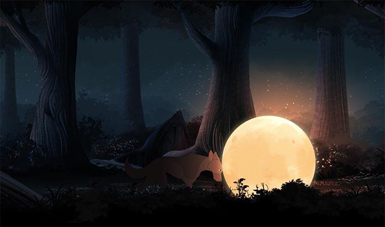 Der Wolf, der mit dem Mond tanzt
