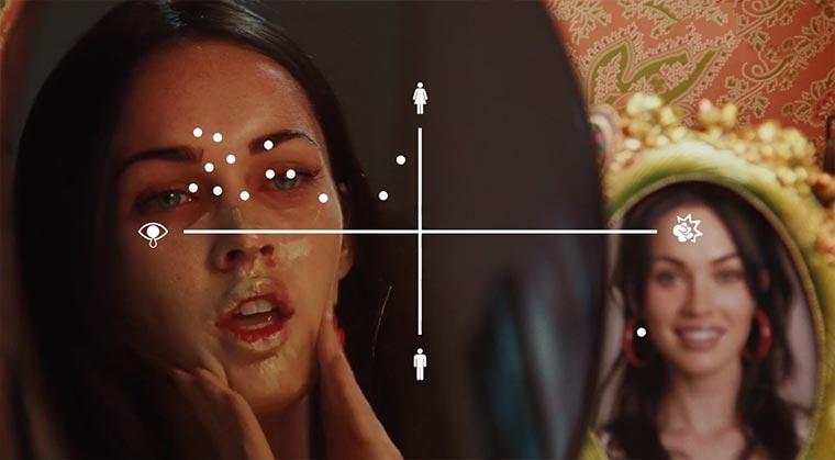 Wie unterschiedlich Männer und Frauen in Film-Spiegel schauen man-woman-mirror