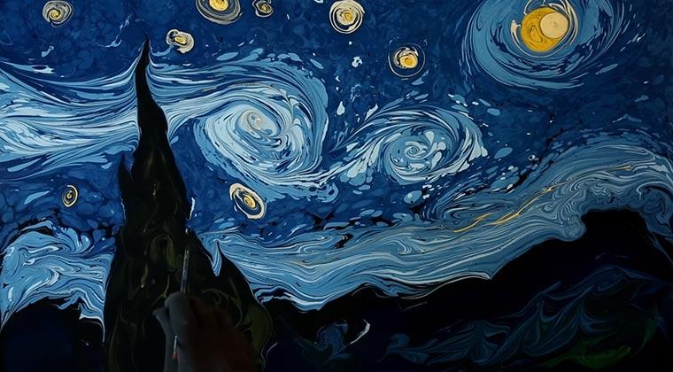 Ein Van Gogh auf Wasser marble-art-van-gogh