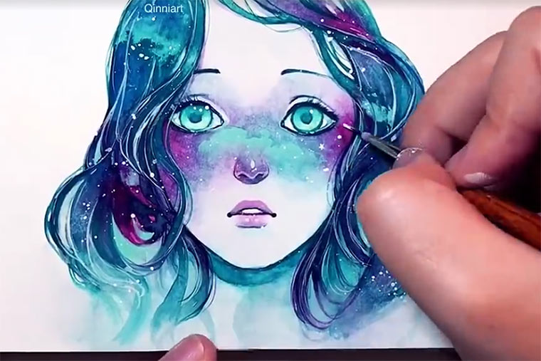 Speedpainting: Starry-Eyed Girl Qinni_speedpainting