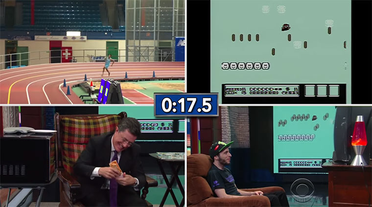 Super Mario-Speedrunner vs. Staffellauf-Team vs. Stephen Colbert colbert-super-mario-bros3
