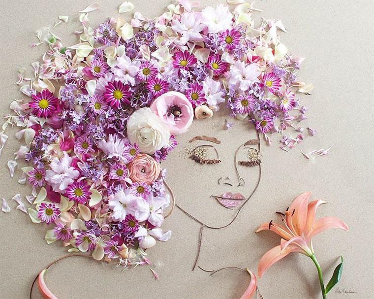 Gesichter aus Blumen und Zweigen vicki-flower-art_01