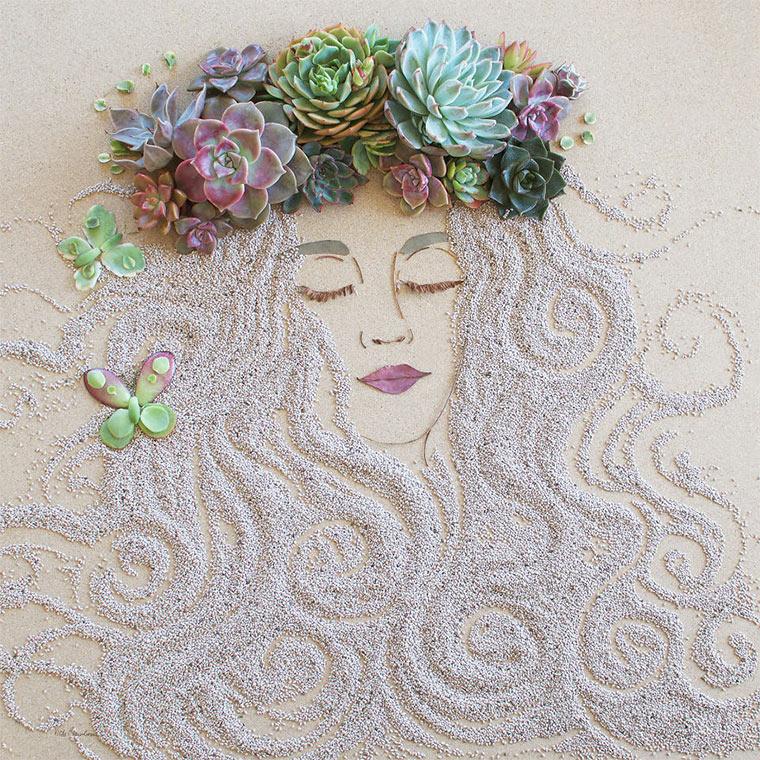 Gesichter aus Blumen und Zweigen vicki-flower-art_02