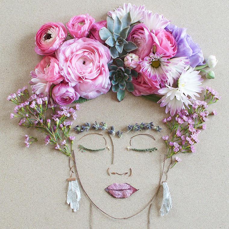 Gesichter aus Blumen und Zweigen vicki-flower-art_06