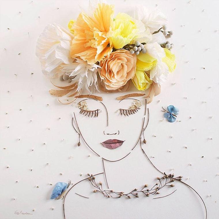 Gesichter aus Blumen und Zweigen vicki-flower-art_07