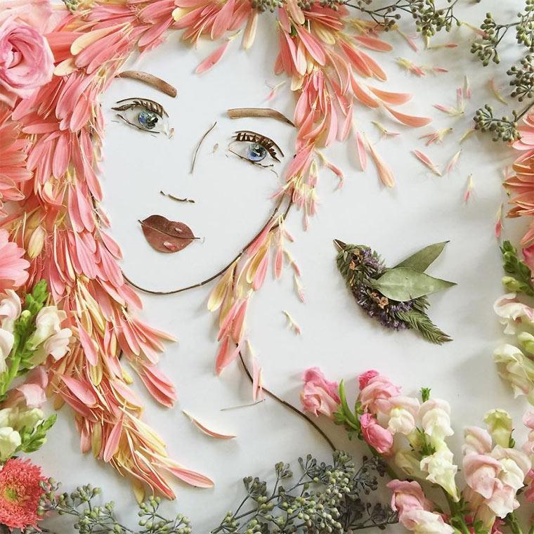 Gesichter aus Blumen und Zweigen vicki-flower-art_08