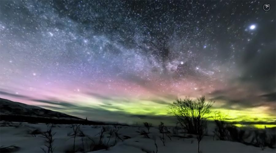 360°-Video der Milchstraße über Alaska