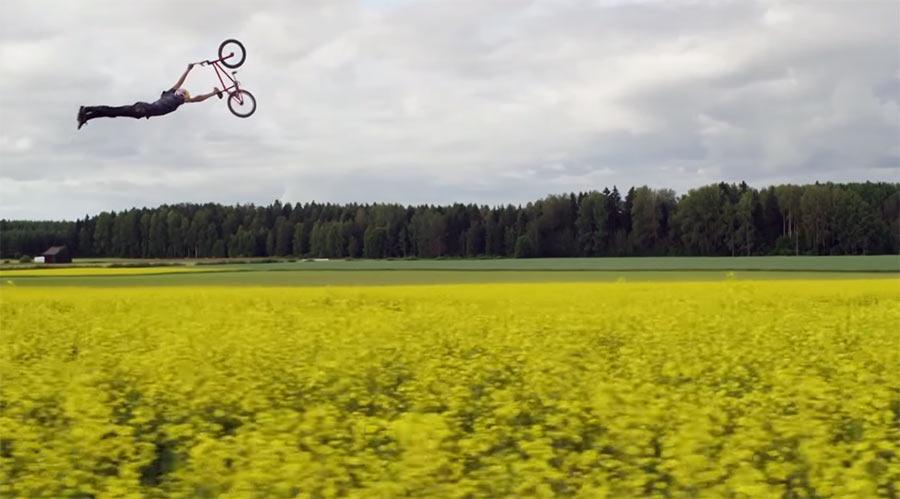 Mit dem BMX durchs Rapsfeld springen field-trippin