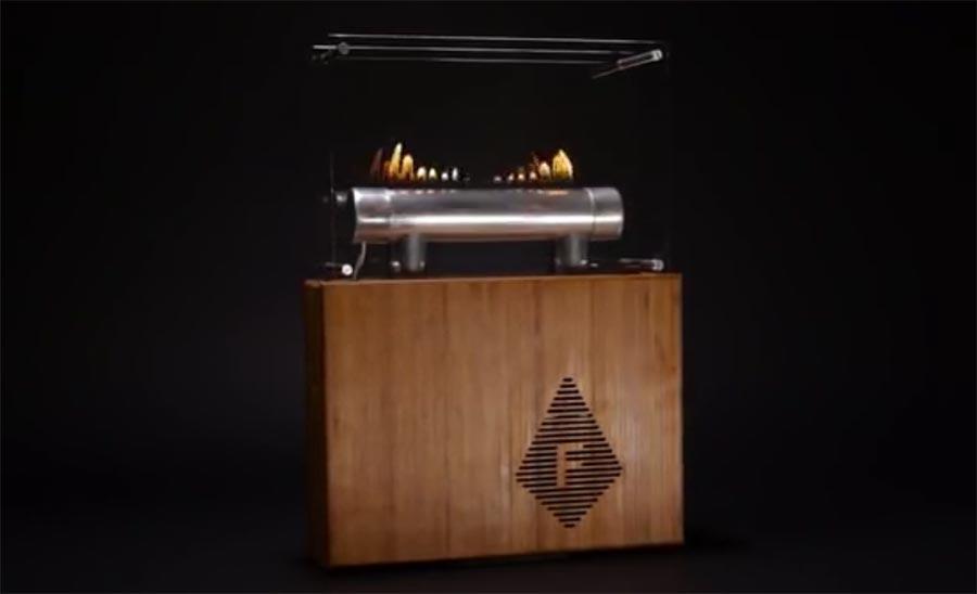 Lautsprecher mit tanzenden Flammen