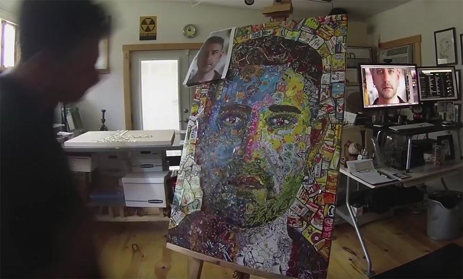 Portrait aus tausenden Aufklebern